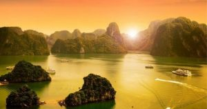 Glorious Sunset in Halong Bay