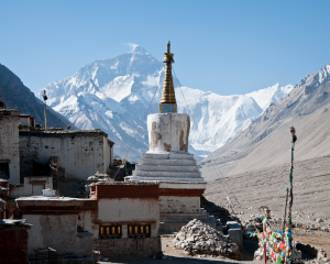 Mt Everest view from Rongbuk Monastery
