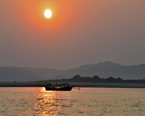 Myanmar on cruise ship along Irrawaddy river