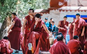 Buddhism Debating Scripture with dramatic gestures in Sera Monastery