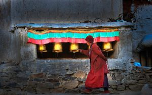 A devoted pilgrim in Rongbuk Monastery